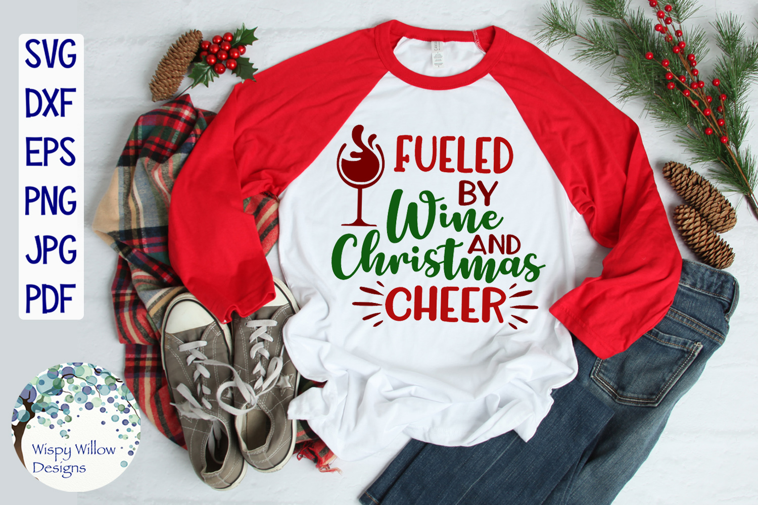 Fueled By Wine and Christmas Cheer   Christmas SVG example image 2