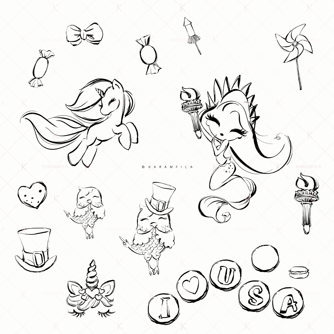4th of July Mermaid Unicorn Doodle Clipart example image 2