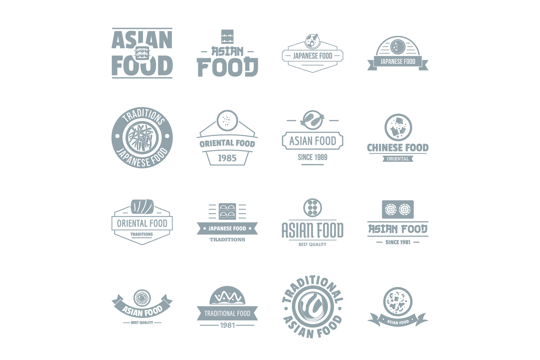 Asian food logo icons set, simple style example image 1