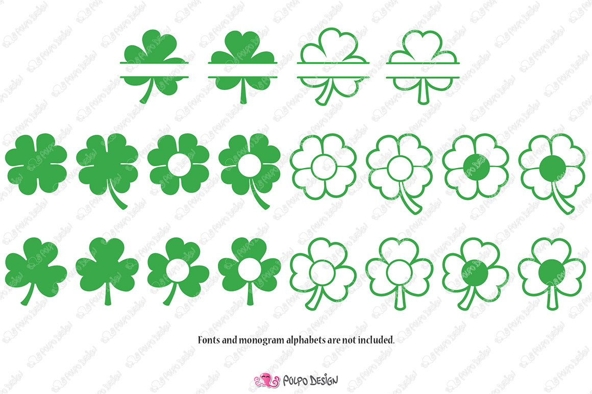 Shamrock Monogram SVG example image 2