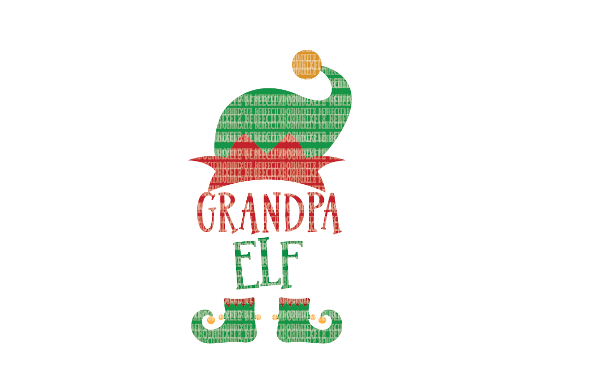 Christmas SVG File, Grandpa Elf, SVG Files for Cameo and Cricut Design Space, Iron on Decal, Printable Transfer, DXF Commercial Use, example image 1