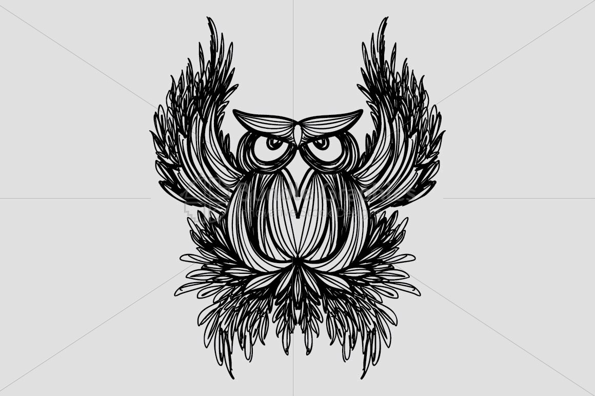 Owl -  Freehand Creative Linear Artistic Composition example image 2
