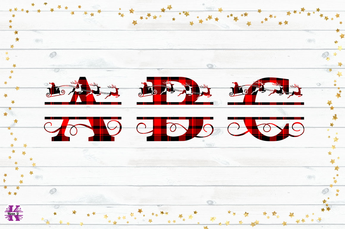 Tartan Sublimation Christmas Monograms example image 2