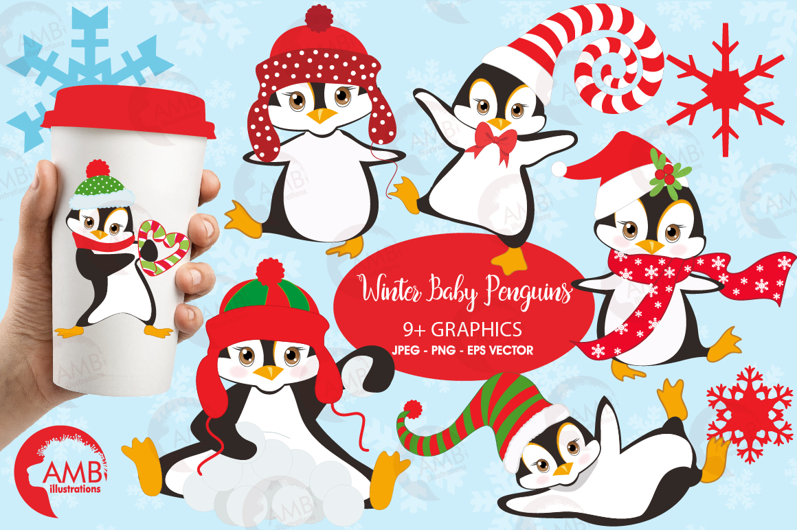 Winter Penguins cliparts, graphics, illustrations AMB-307 example image 1