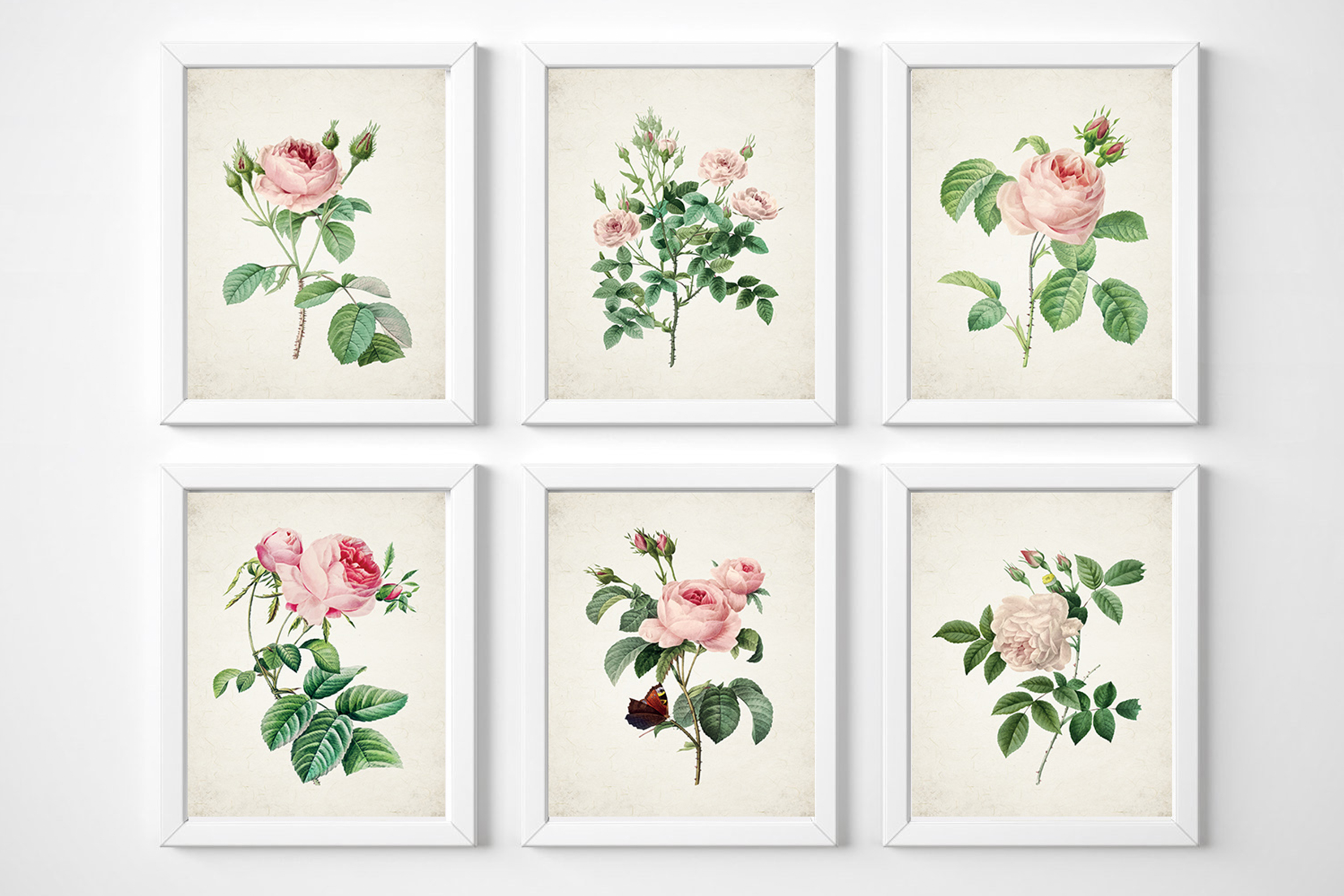 Rose Flower Wall Art, Rose Wall Art Print, Vintage Rose Art example image 1