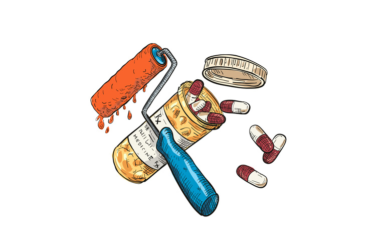 Paint Roller Medicine Capsule Bottle Drawing Color example image 1