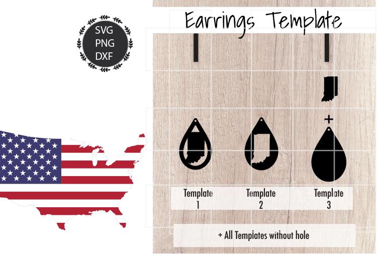 Earrings Template - Indiana Teardrop Earrings Svg example image 2