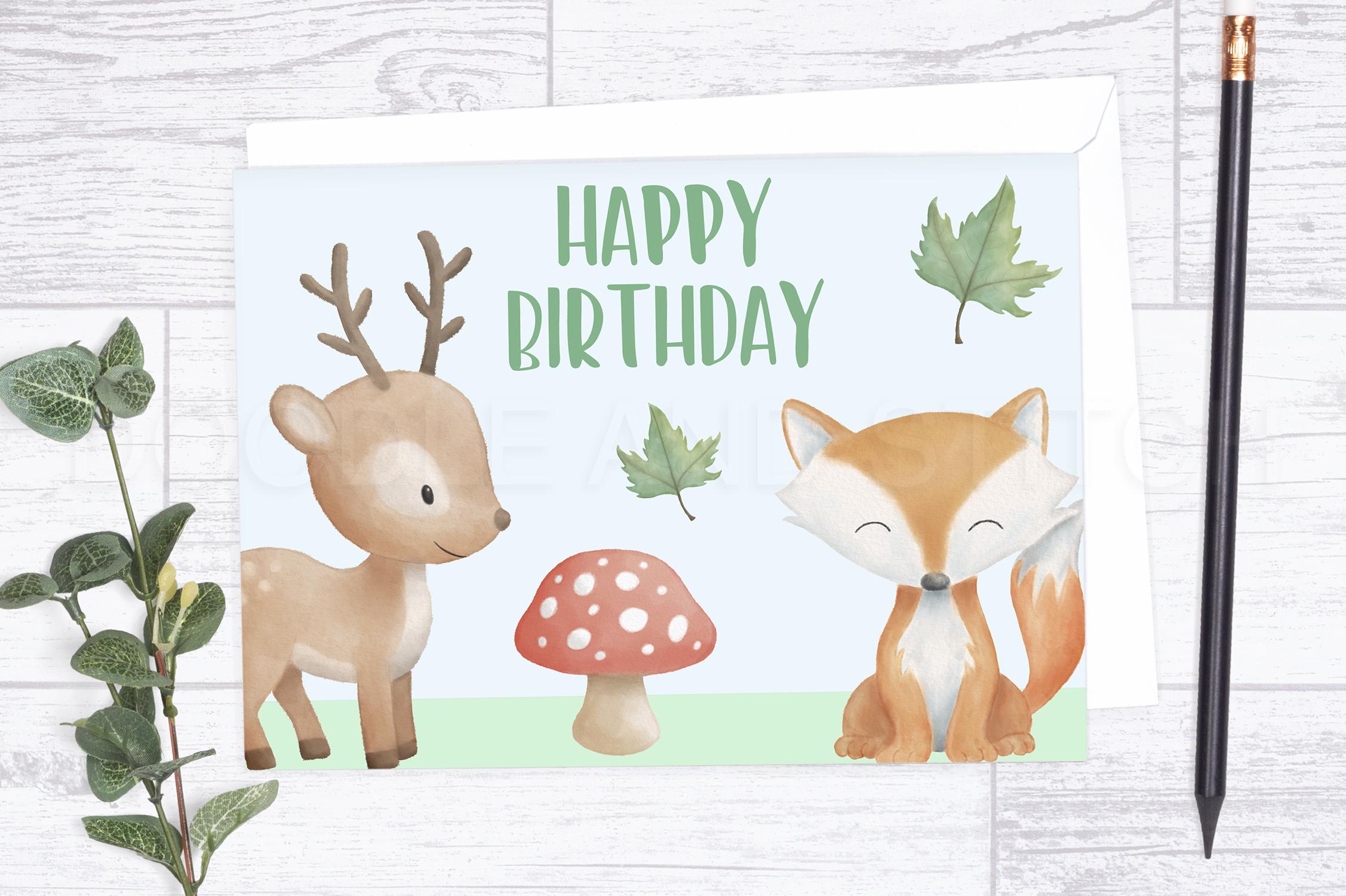 Watercolor Woodland Animal Designs example image 4