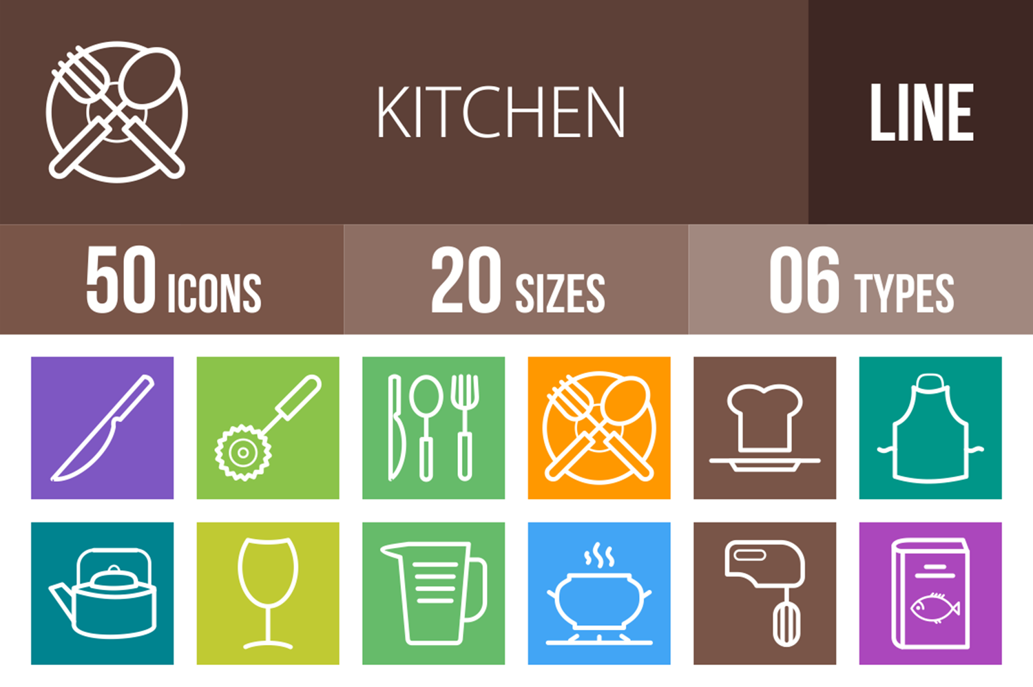 50 Kitchen Line Multicolor B/G Icons example image 1