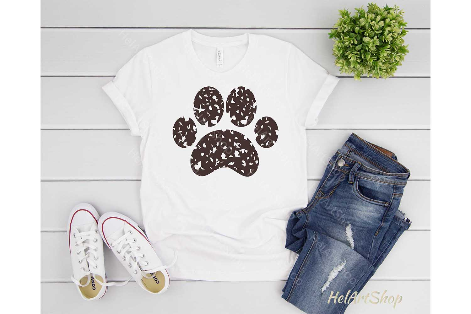 Distressed Paw svg, Dog Paw Svg, Dog Mom svg example image 2