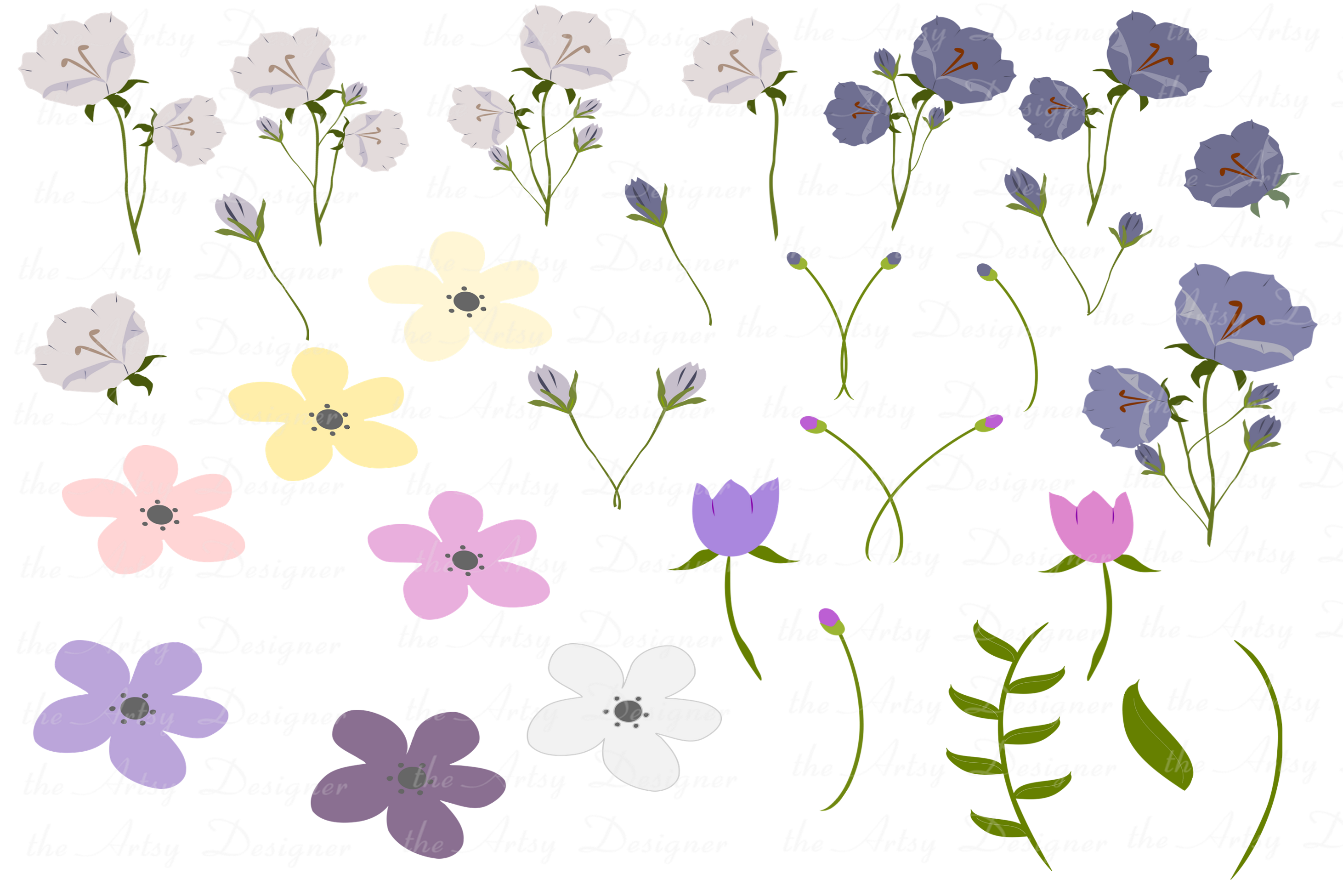 Purple Flowers Sublimation Clipart Bundle Wedding Floral