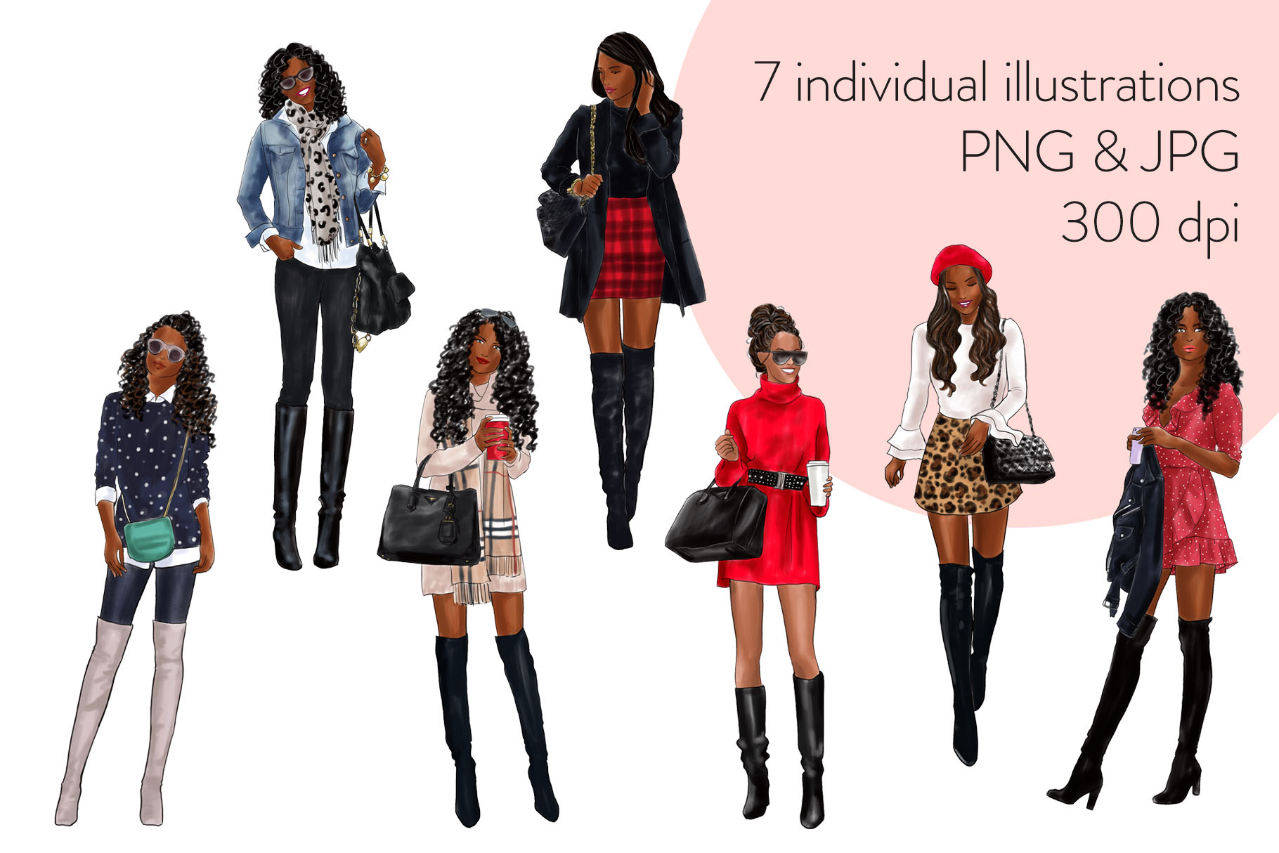 Fashion illustration clipart - Girls in Boots 1 - Dark Skin example image 2