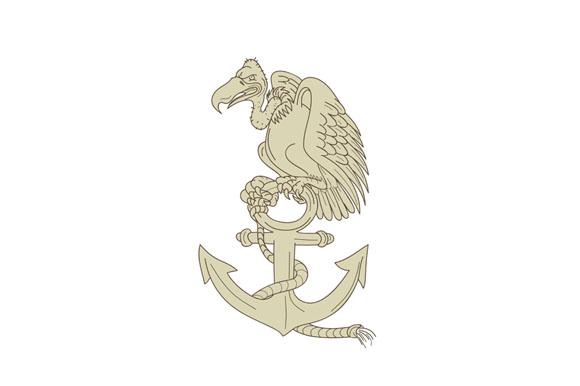 Buzzard Perching Navy Anchor Cartoon example image 1