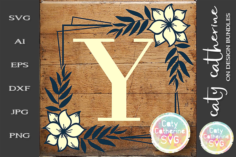 Letter Y Floral Monogram Frame SVG Cut File example image 1