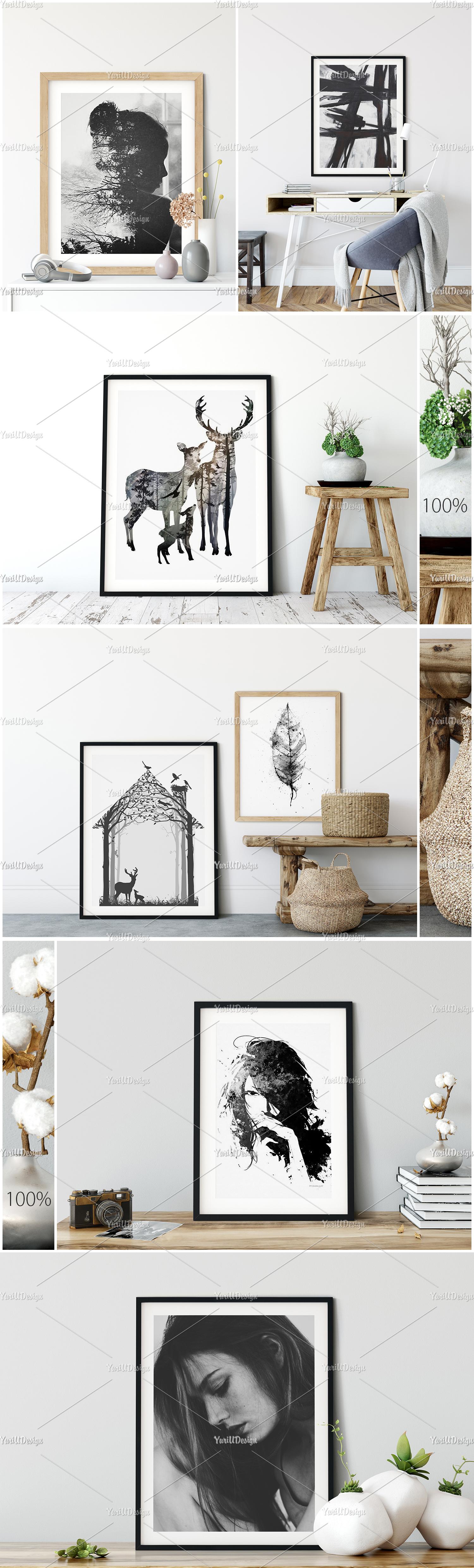 Scandinavian Interior Frames & Walls Mockup Bundle example image 7