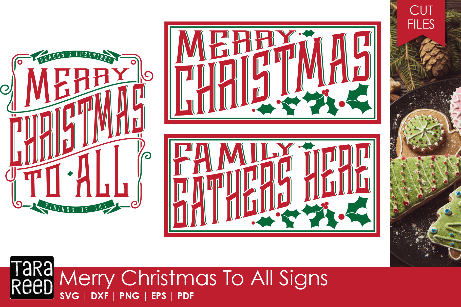 Merry Christmas Signs - SVG & Cut Files for Crafters example image 1