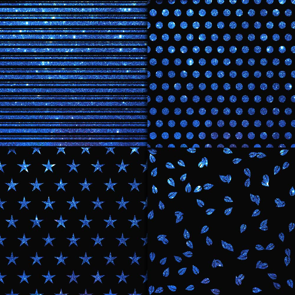 Blue Glitter & Black Digital Paper example image 2