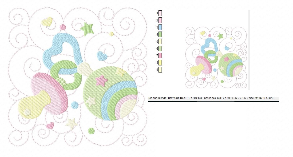 Baby Quilt Block 1 - Machine Embroidery Design in 3 sizes example image 3