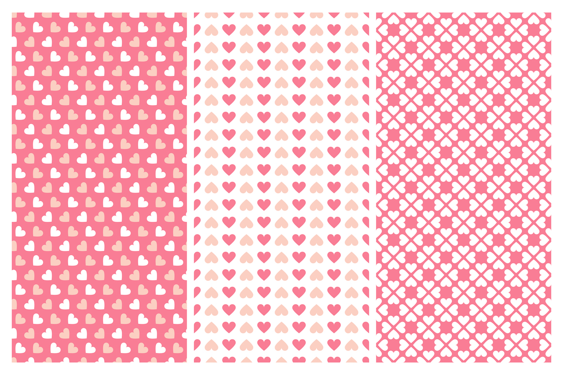 Vector seamless hearts patterns example image 7
