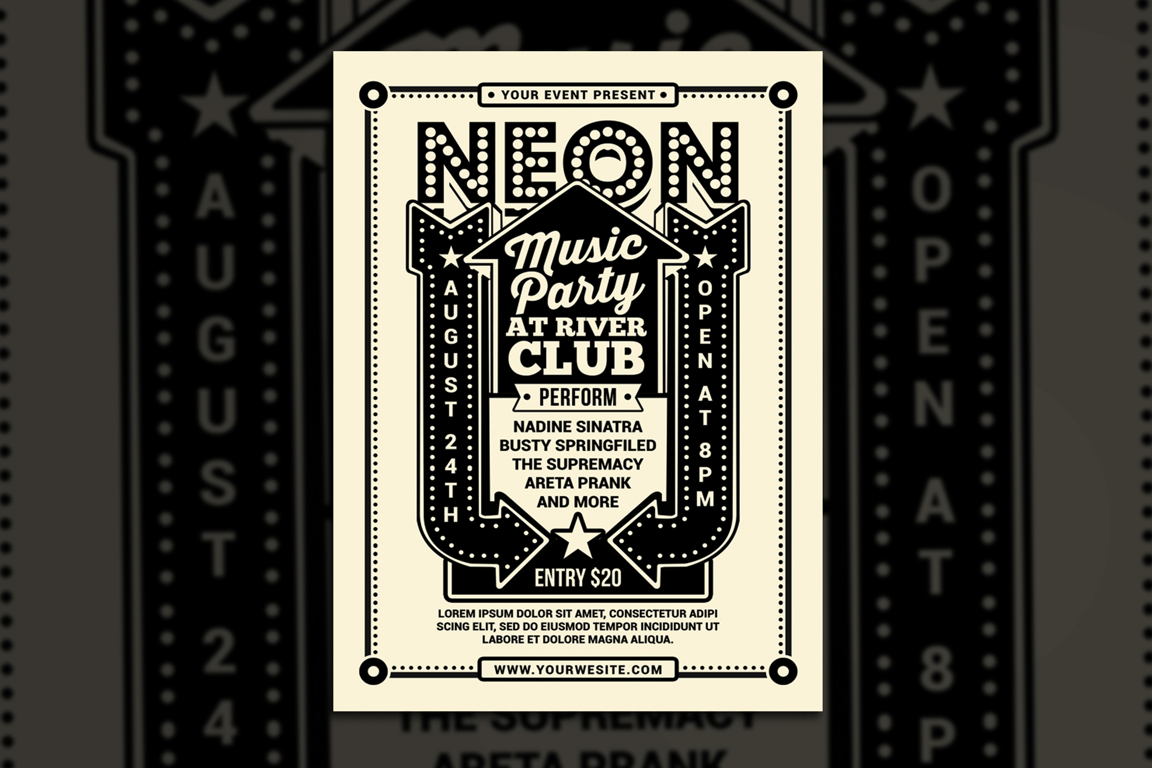 Vintage Neon Music Party example image 1