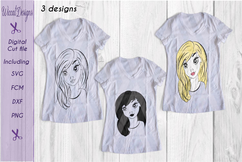 Girl svg, Girl face svg, Line art girl svg, teen svg, example image 3