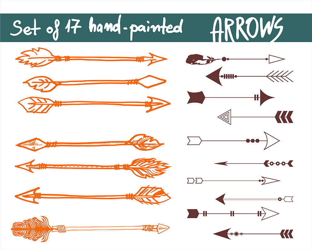 17 different arrow designs SVG, DXF, JPG, PNG, DWG, AI, EPS example image 2