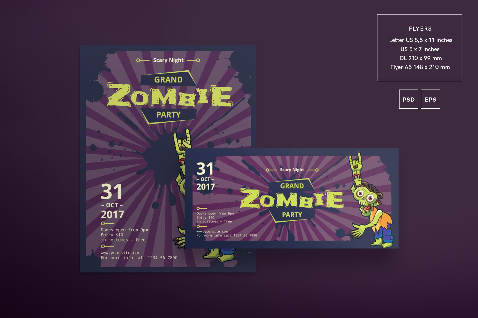Zombie Party Design Templates Bundle example image 2