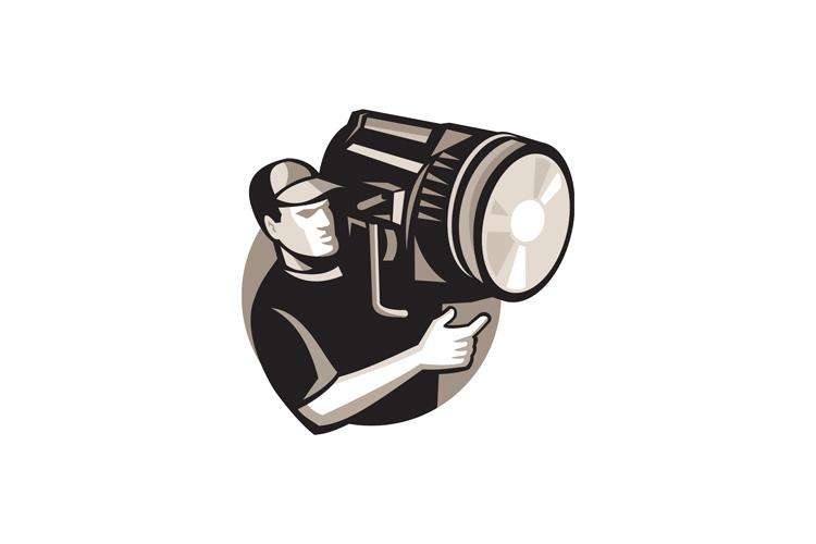 film crew with spotlight fresnel light example image 1