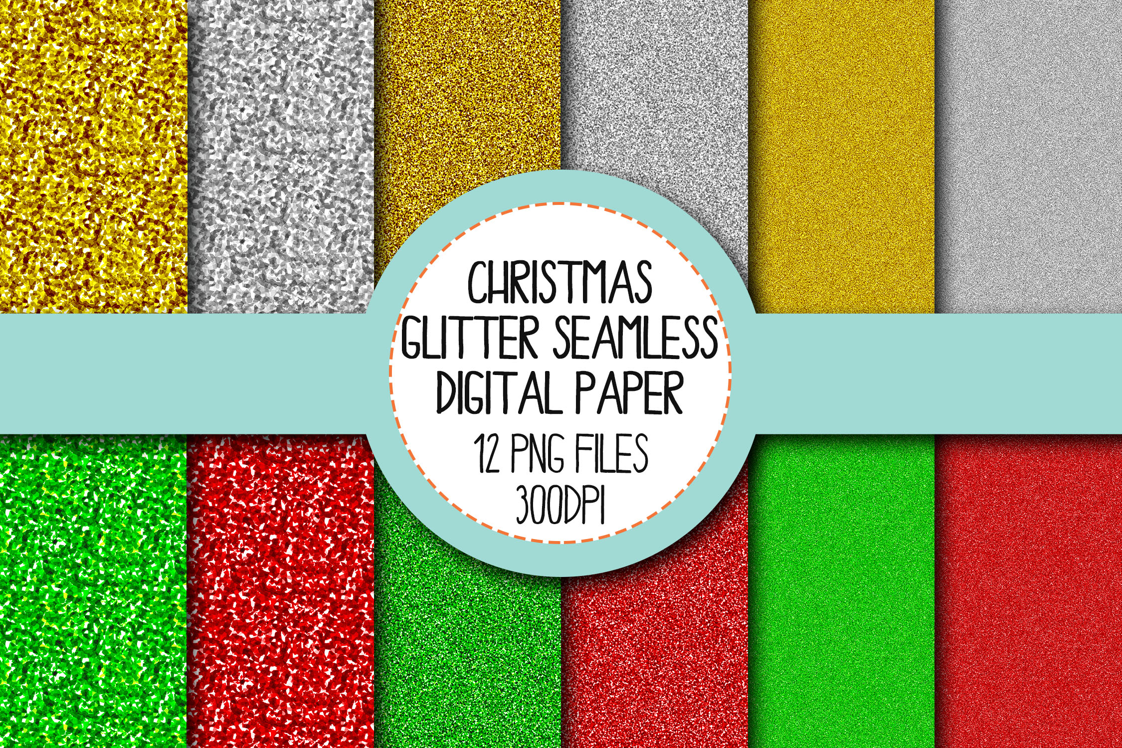 Christmas Glitter Seamless Digital Papers Set 1 example image 1