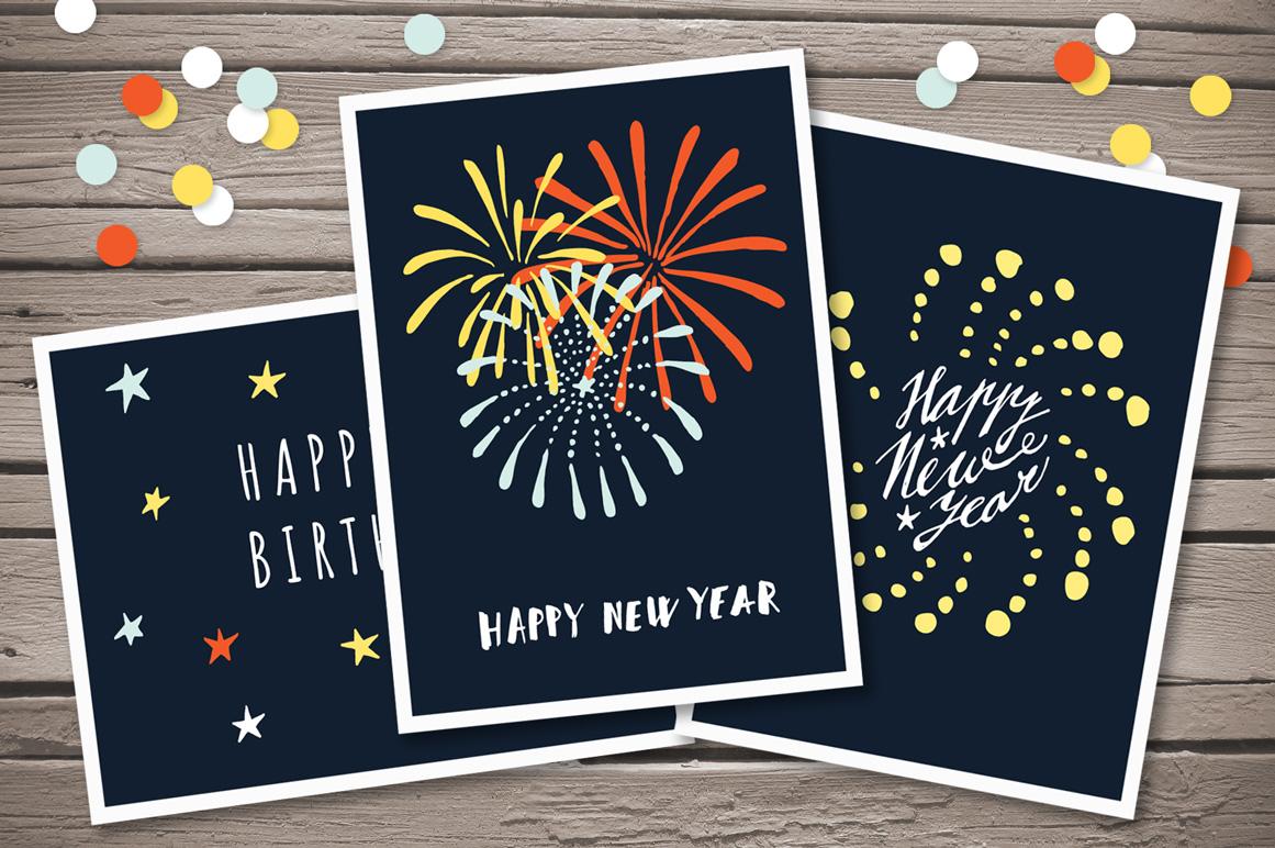 Hand drawn Fireworks & Sunbursts set example image 2
