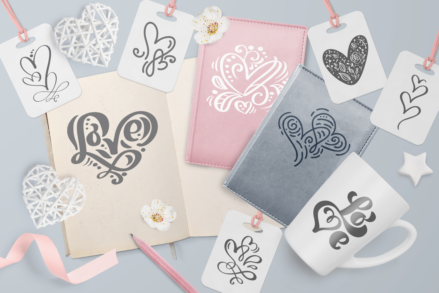 Valentine vector hand draw hearts SVG example image 5