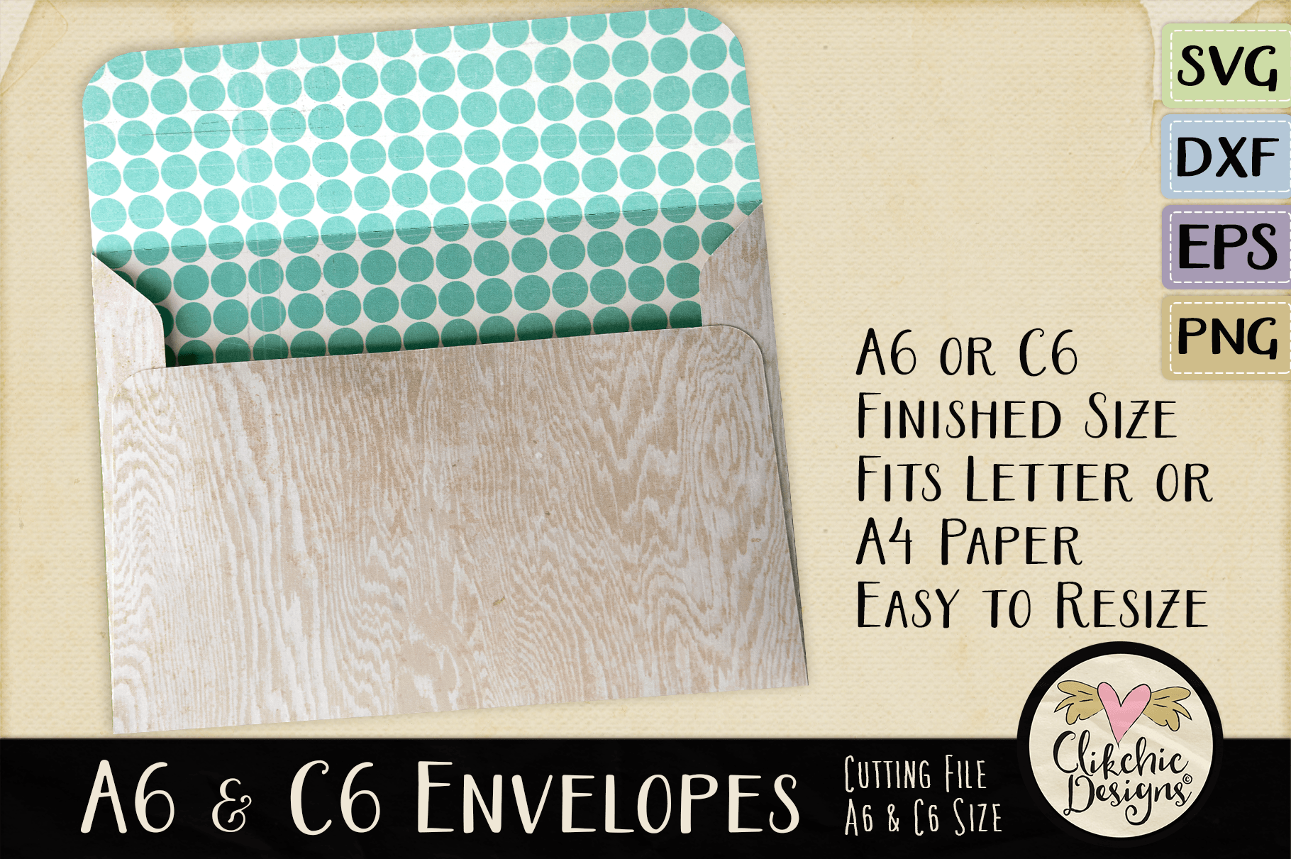 A6 & C6 Envelope SVG - Envelope Cutting File Template example image 2