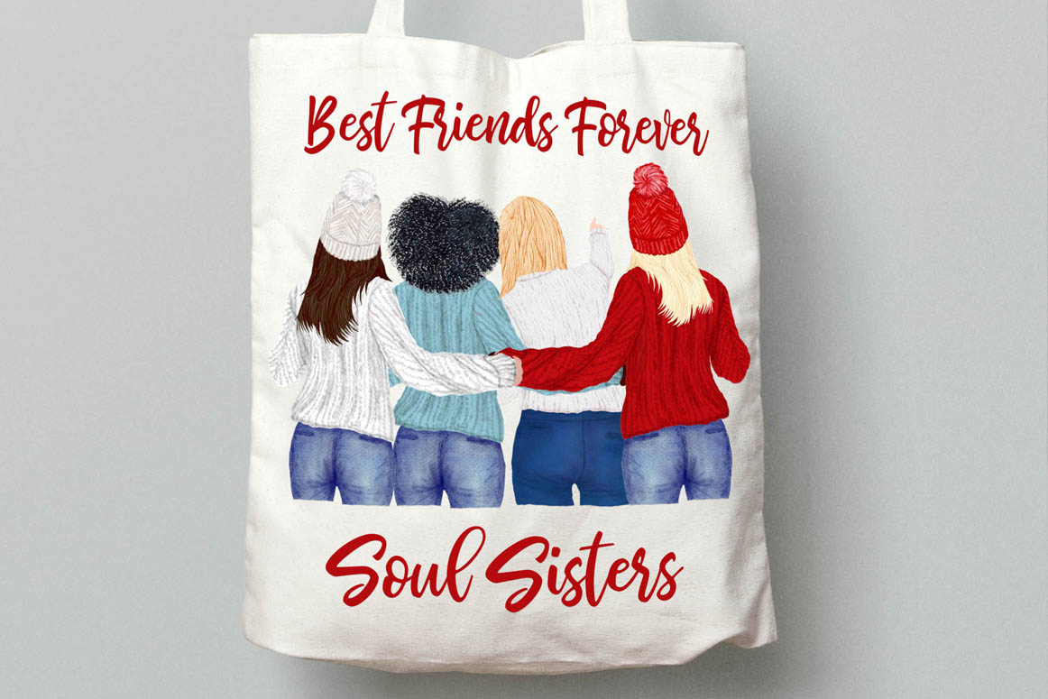 Girls Clipart Best friends clipart Girls in Sweaters clipart example image 4