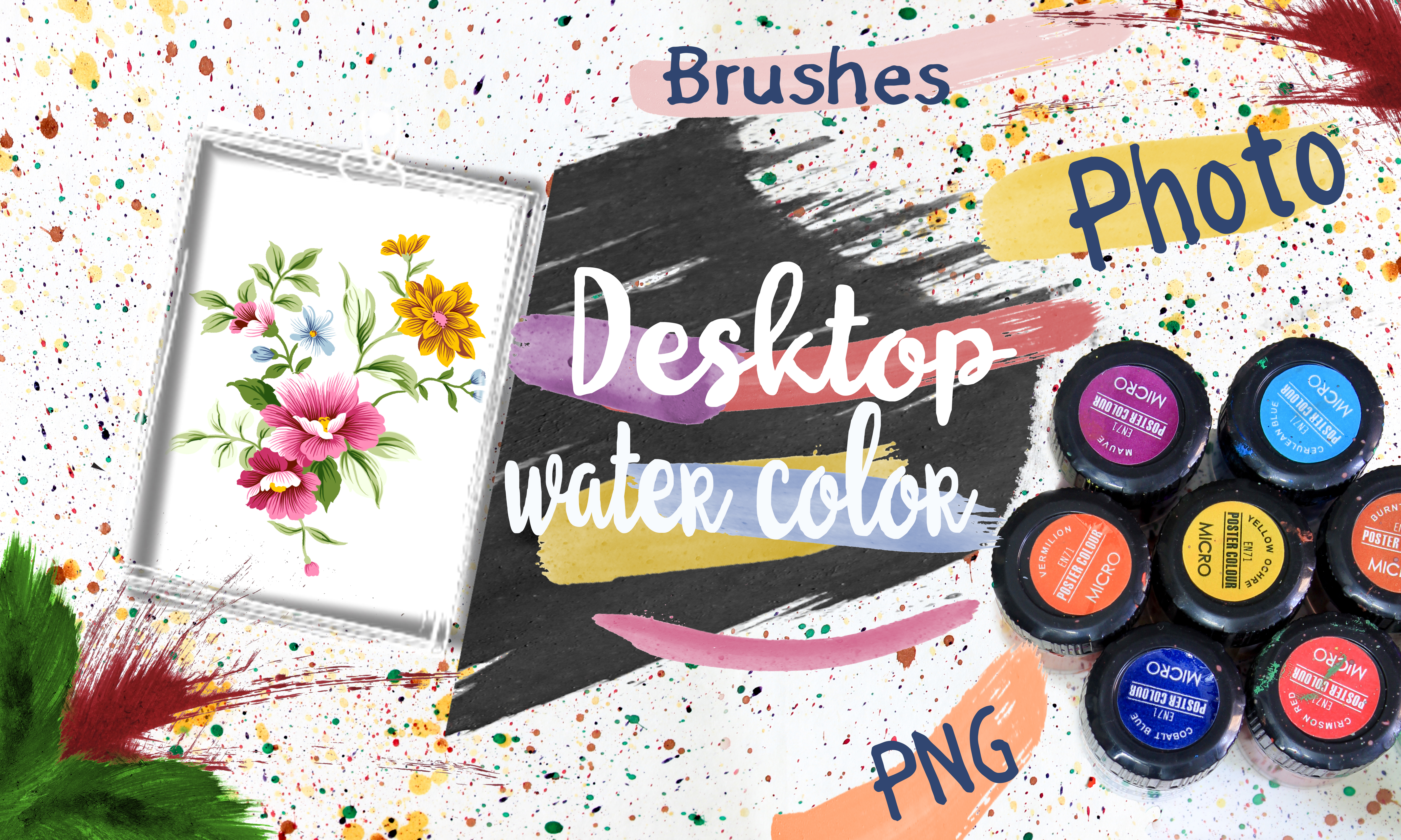 Water Color Bacground and Brushes example image 1