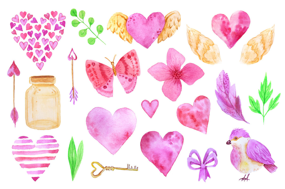 Watercolor Valentines Day Collection  example image 3