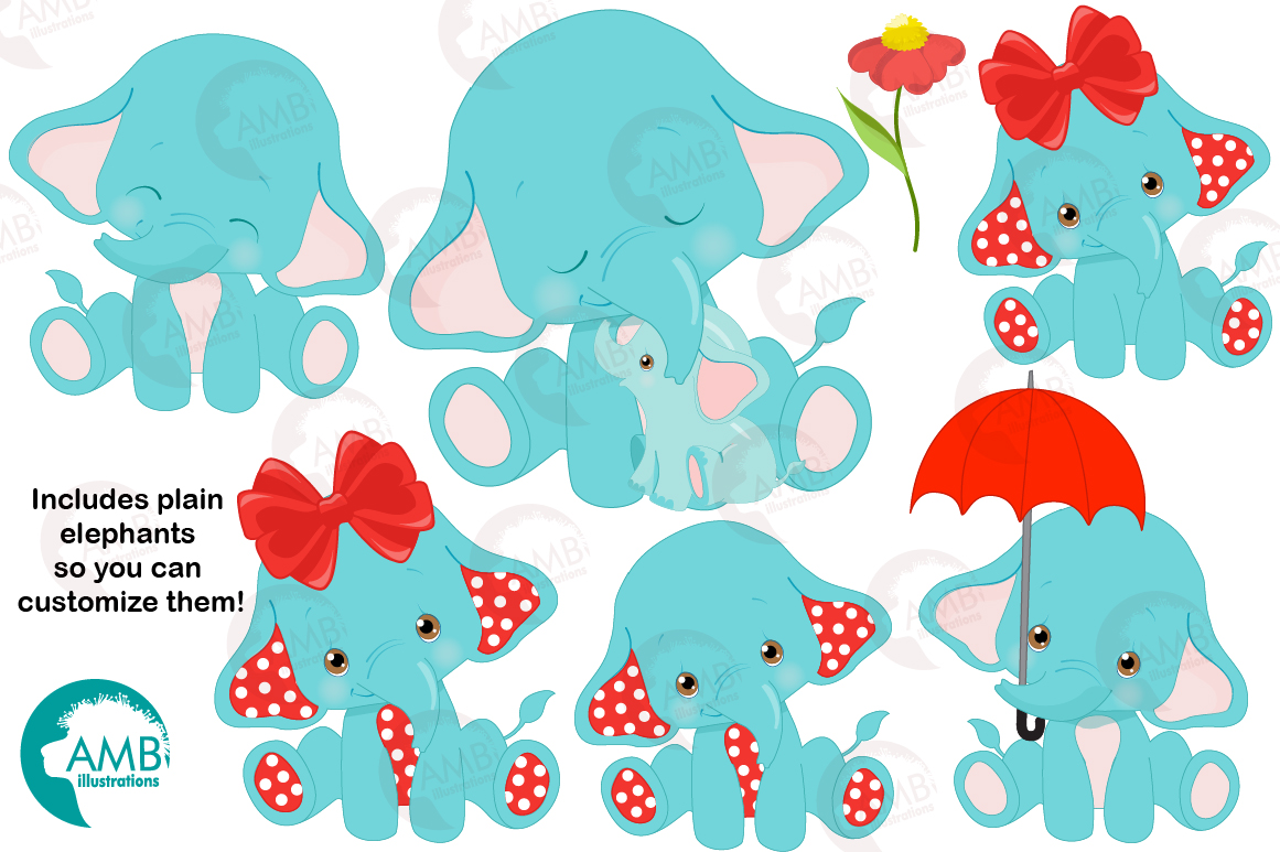 BABY ELEPHANT BUNDLE! 53 cliparts, graphics and illustrations and Patterns AMB-2273 example image 7