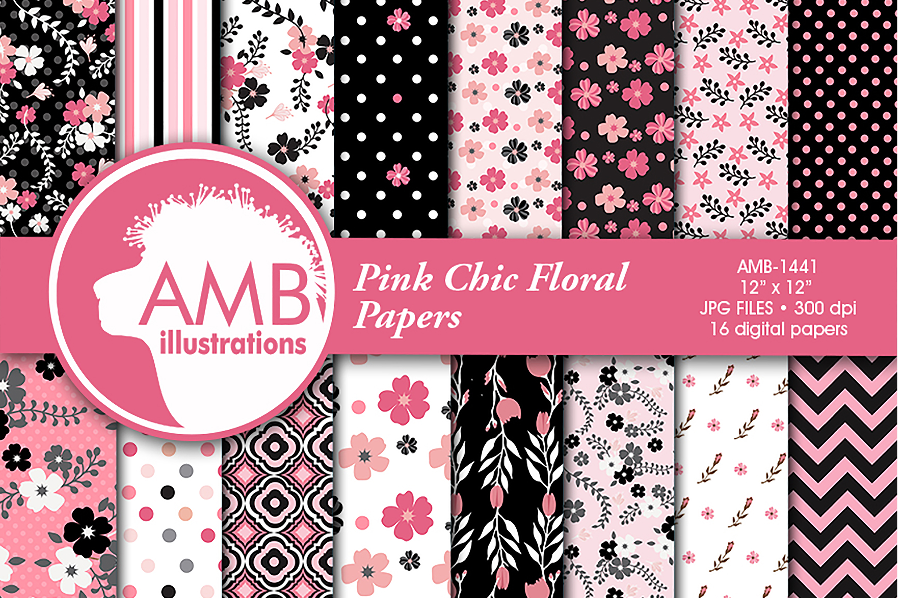 Floral Patterns Pink Papers Amb 1441