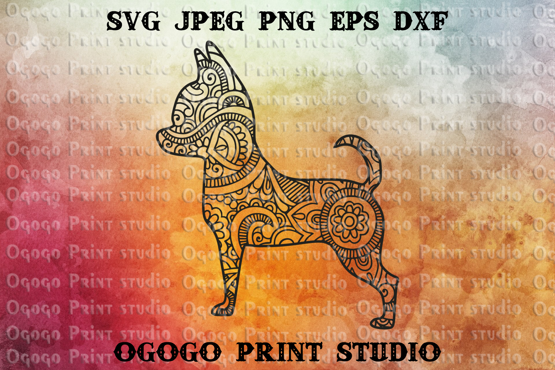 Mandala style Chihuahua SVG, Zentangle svg, Pet svg, Dog Svg example image 1