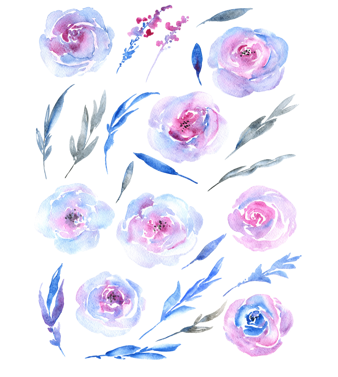 Azure blue watercolor flowers roses example image 2