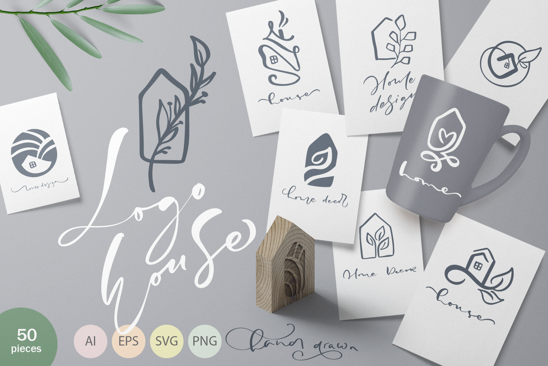 Hand drawn Logo House Vector elements SVG example image 1