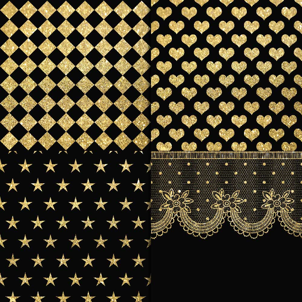 Gold Glitter & Black Digital Paper example image 4