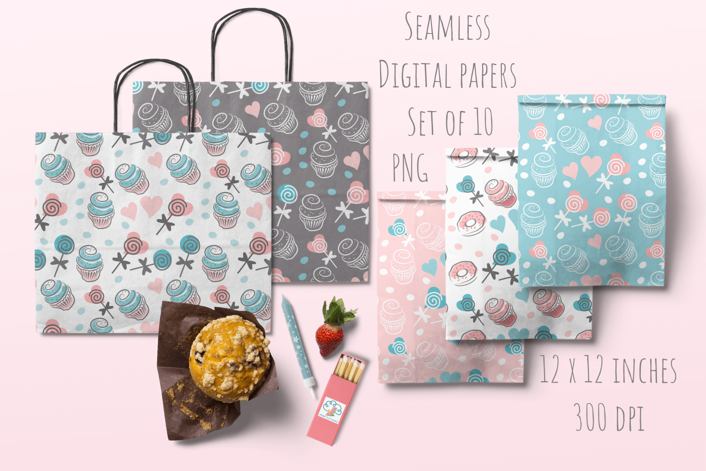 Cupcakes and Donuts Seamless Scrapbooking Papers 10 PNG file example image 5