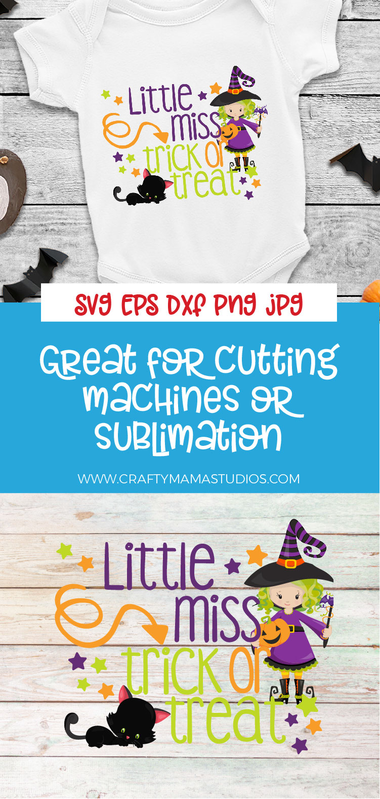 Little Miss Trick Or Treat SVG Sublimation, Halloween SVG example image 3