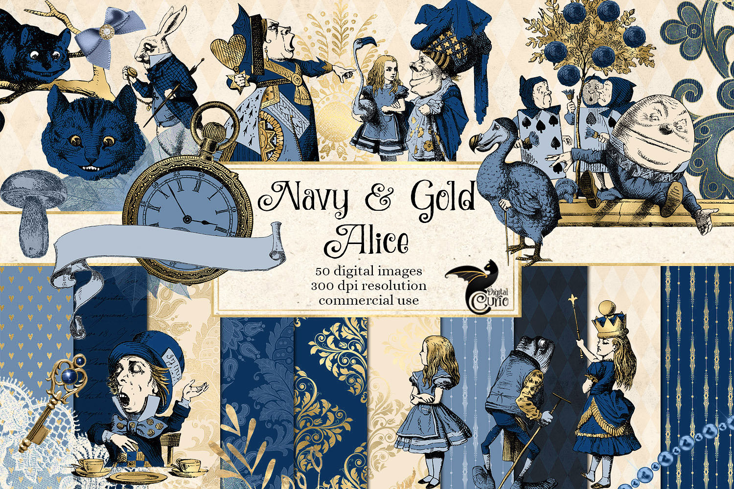Navy Blue and Gold Alice in Wonderland Graphics example image 1