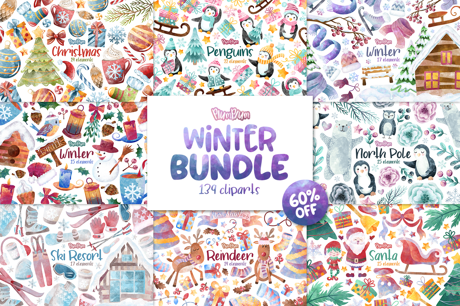 Winter Clipart Bundle example image 1