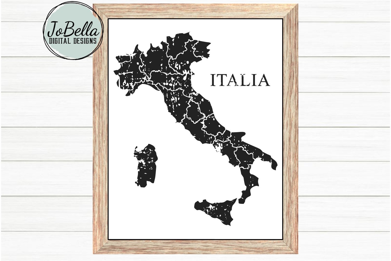 Italy SVG and Printable Distressed Map with Regional Borders example image 2