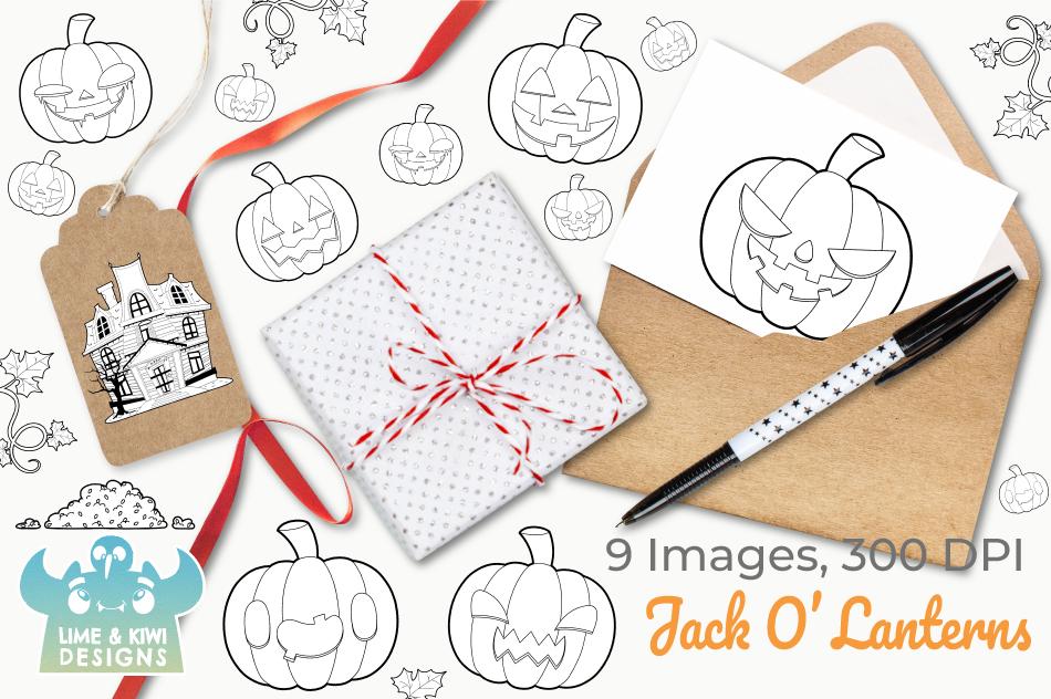 Jack O' Lanterns Digital Stamps example image 4