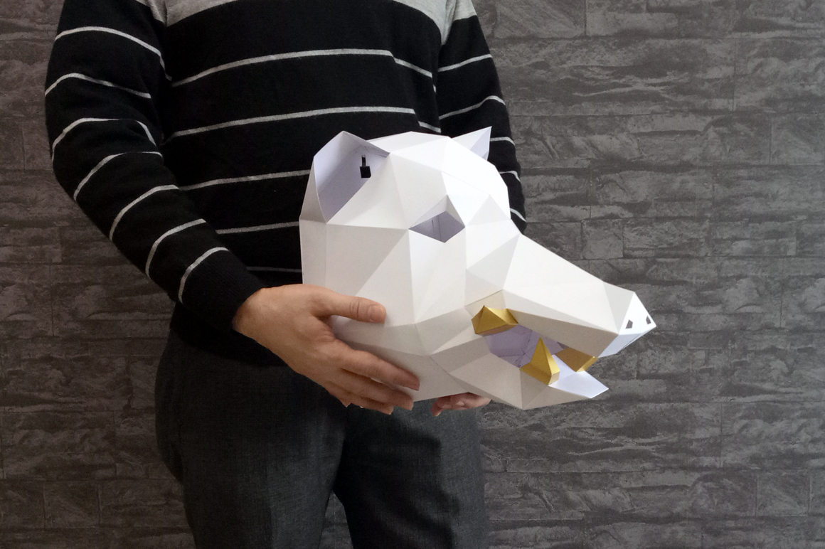 DIY Boar Trophy - 3d papercraft example image 6