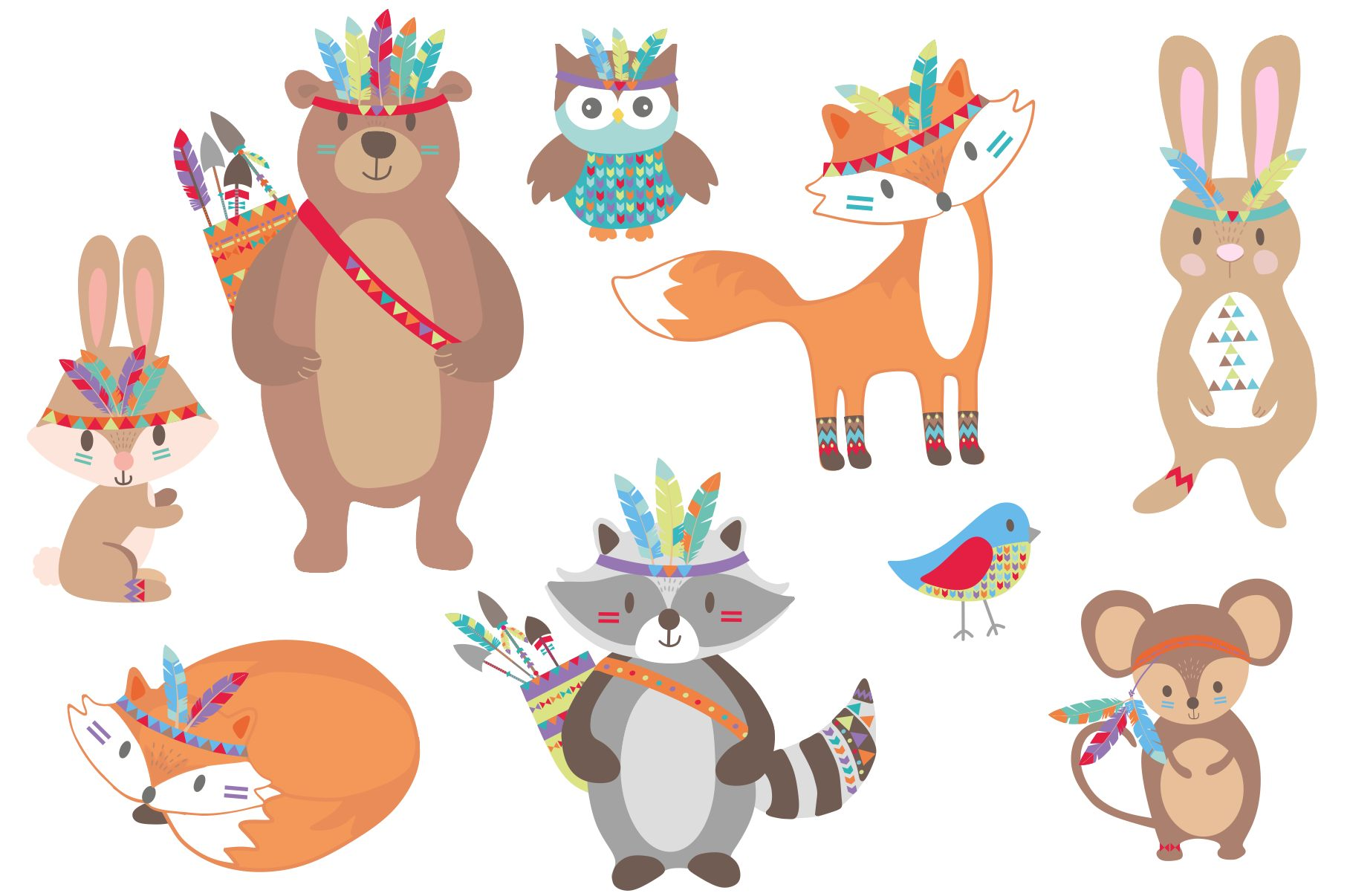 Tribal Woodland Animals Clipart example image 3