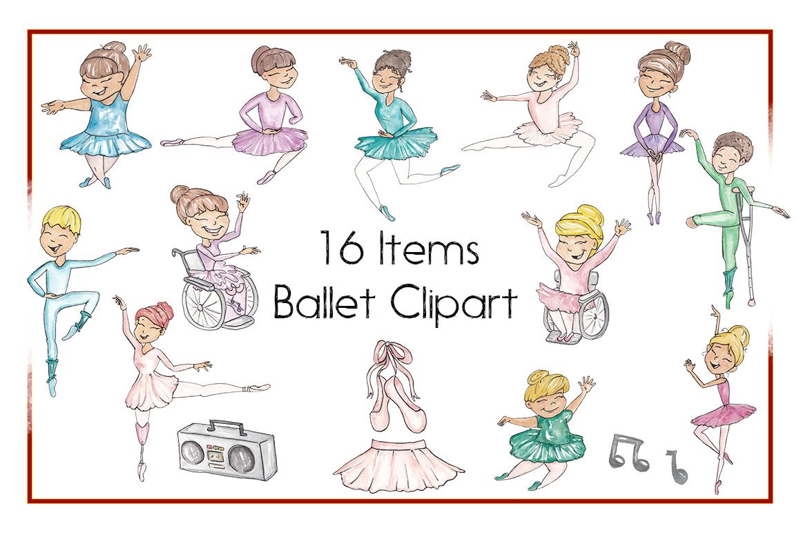 Ballerinas, Ballet Clipart, Amputee, Handicapped,Watercolor example image 2